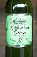 Bottle of Ortega white wine at Biddenden English Vineyards in Kent, England, UK