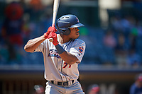 Jacksonville Jumbo Shrimp Stone Garrett (31) at bat during a Southern League game against the Mississippi Braves on May 5, 2019 at Trustmark Park in Pearl, Mississippi.  Mississippi defeated Jacksonville 1-0 in ten innings.  (Mike Janes/Four Seam Images)