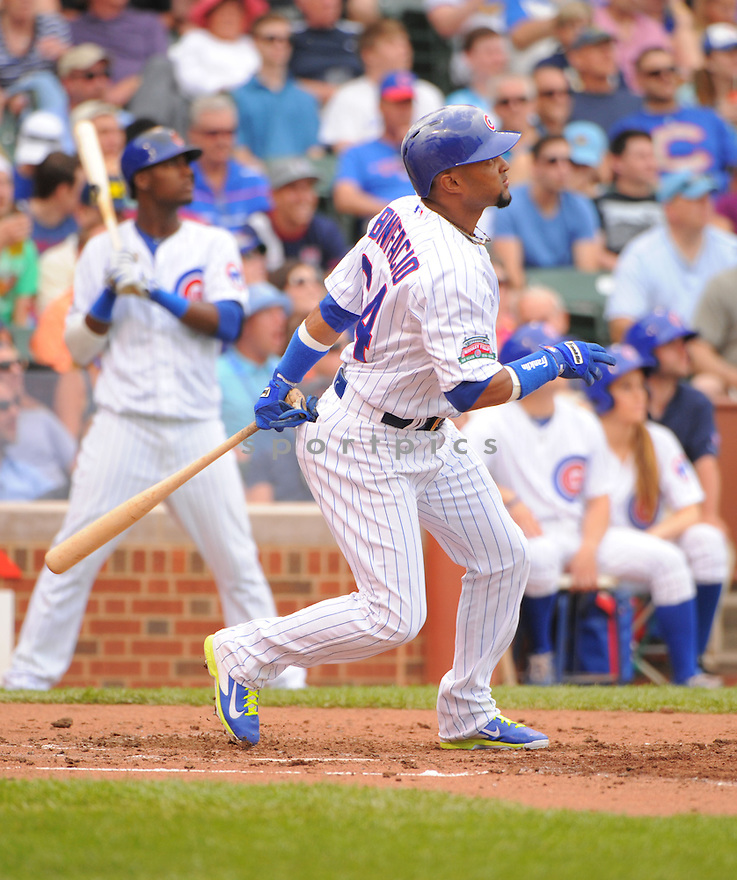 Chicago Cubs Emilio Bonifacio (64) during a game against the Miami Marlins on June 7, 2014 at Wrigley Field in Chicago, IL. The Cubs beat the Marlins 5-2.