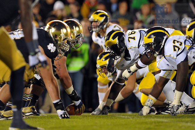 Sep 22, 2012; The Irish and the Michigan Wolverines line up at the line of scrimmage...Photo by Matt Cashore