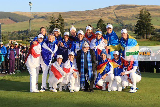The European Team winners of the Solheim Cup 2019 at Gleneagles Golf CLub, Auchterarder, Perthshire, Scotland. 15/09/2019.<br /> Picture Thos Caffrey / Golffile.ie<br /> <br /> All photo usage must carry mandatory copyright credit (© Golffile   Thos Caffrey)