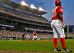 21 June 2008: Washington Nationals' outfielder Lastings Milledge stands in the on-deck circle as Elijah Dukes is at bat against the Texas Rangers at Nationals Park in Washington, DC. The Rangers defeated the Nationals 13-3 in the second game of their 3-game inter-league series...Mandatory Photo Credit: Ed Wolfstein Photo
