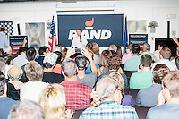 Kentucky senator and Republican presidential candidate Rand Paul speaks at a town hall campaign event at Kilton Library in West Lebanon, New Hampshire.