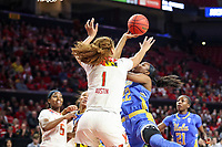 College Park, MD - March 25, 2019: UCLA Bruins guard Kennedy Burke (22) shoots the ball over Maryland Terrapins forward Shakira Austin (1) during game between UCLA and Maryland at  Xfinity Center in College Park, MD.  (Photo by Elliott Brown/Media Images International)