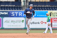 Cavan Biggio (6) of the New Hampshire Fisher Cats rounds the bases after hitting a home run during a game against the Hartford Yard Goats at Dunkin Donuts Park on April 8, 2018 in Hartford, Connecticut.<br /> (Gregory Vasil/Four Seam Images)