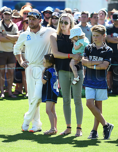 24.02.2016. Christchurch, New Zealand.  New Zealand captain Brendon McCullum and family at the post match presentation after losing the 2nd test match. New Zealand Black Caps versus Australia. Hagley Oval in Christchurch, New Zealand. Wednesday 24 February 2016.