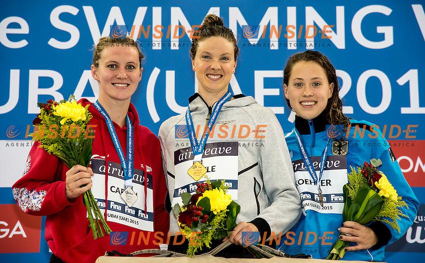 from left  CARLIN Jaz GBR, BOYLE Lauren NZL, KOHLER Sarah GER<br /> 800 freestyle women<br /> FINA Airweave Swimming World Cup 2015<br /> Dubai U.A.E  2015  Nov.6 th - 7th3 rd<br /> Day1 - Nov. 6 th finals<br /> Photo G. Scala/Deepbluemedia/Insidefoto