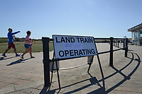 BNPS.co.uk (01202 558833)<br /> Pic: ZacharyCulpin/BNPS<br /> <br /> The land train cancelled signs at the Hegistbury land train station. <br /> <br /> Passengers have hit out at a 'farcical' council-run land train at a beauty spot after a driver shortage put it out of action for the ninth time in three months.<br /> <br /> The popular Hengistbury Head Land Train in Dorset has already been besieged by a series of mechanical failures over the summer.<br /> <br /> Now, the stricken service, which is overseen by BCP Council, has suffered further ignimony as it was forced to shut down for three days to enable their only available driver to do some 'mandatory training'. This had been arranged at the same time that their second driver was on annual leave.<br /> <br /> The novelty 'Noddy' train service, which takes thousands of visitors a year 1.5 miles from the car park at the Hengistbury Head nature reserve to Mudeford Spit, was launched by the late Joyce and Roger Farris in 1968.<br /> <br /> It was operated independently, running for 364 days a year, until it was controversially taken over by the local council in 2015 who terminated their contract.