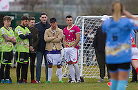 Jude Moore (baseball cap) (Model / Ex Boyfriend of Danniella Westbrook) & CRAIG DALTON (IBIZA WEEKENDER)  keeps his hands warm as they watch the girls in action during the SOCCER SIX Celebrity Football Event at the Queen Elizabeth Olympic Park, London, England on 26 March 2016. Photo by Andy Rowland.