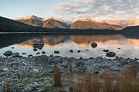 Sunrise over Lake Manapouri, Fiordland National Park, UNESCO World Heritage Area, Southland, New Zealand, NZ