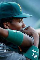 Jemile Weeks #19 of the Oakland Athletics before a game against the Los Angeles Angels at Angel Stadium on September 10, 2012 in Anaheim, California. Oakland defeated Los Angeles 3-1. (Larry Goren/Four Seam Images)