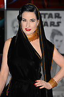 "Dita Von Teese at the world premiere for ""Star Wars: The Last Jedi"" at the Shrine Auditorium. Los Angeles, USA 09 December  2017<br /> Picture: Paul Smith/Featureflash/SilverHub 0208 004 5359 sales@silverhubmedia.com"