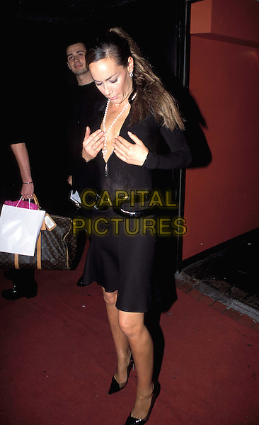 TARA PALMER TOMKINSON.Closer Magazine - 1st Birthday Party at Rex Cinema & Bar.full length, full-length, little black dress, flashing, pearl necklace, cleavage.www.capitalpictures.com.sales@capitalpictures.com.© Capital Pictures.