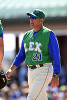 Lexington Legends pitching coach Steve Merriman (21) mound visit during a game against the Hagerstown Suns on May 19, 2014 at Whitaker Bank Ballpark in Lexington, Kentucky.  Lexington defeated Hagerstown 10-8.  (Mike Janes/Four Seam Images)