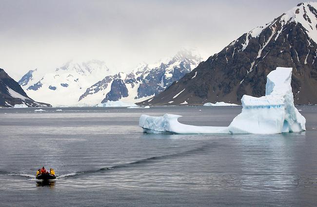 Zodiac cruise around the icebergs in Marguerite Bay. Antarctica