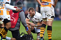 Brad Shields of Wasps is treated for an injury during a break in play. Heineken Champions Cup match, between Bath Rugby and Wasps on January 12, 2019 at the Recreation Ground in Bath, England. Photo by: Patrick Khachfe / Onside Images