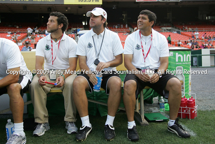 18 July 2009: Saint Louis head coach Jorge Barcellos (BRA) (right) with his staff. The Washington Freedom defeated Saint Louis Athletica 1-0 at the RFK Stadium in Washington, DC in a regular season Women's Professional Soccer game.