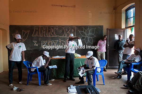 Counting of votes for presidential elections in a polling station in Kigali, Rwanda. August 9 2010