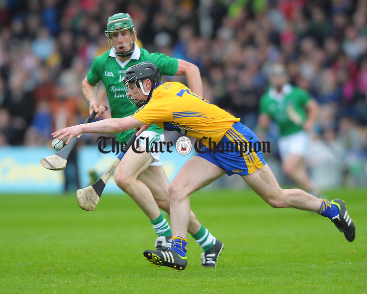 Nicky O Connell of Clare in action against Niall Moran of Limerick during their game at Semple Stadium. Photograph by John Kelly.