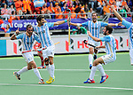 The Hague, Netherlands, June 15: Matias Paredes #10 of Argentina celebrates after scoring during the field hockey bronze match (Men) between Argentina and England on June 15, 2014 during the World Cup 2014 at Kyocera Stadium in The Hague, Netherlands. Final score 2-0 (0-0)  (Photo by Dirk Markgraf / www.265-images.com) *** Local caption ***