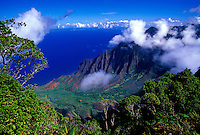 Kalalau valley overlook with blue ocean and clouds