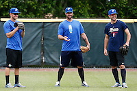 19 September 2012: Team France pitching coach Eric Gagne is seen between pitchers Owen Ozanich and Pierrick Le Mestre prior to Team France friendly game against Palm Beach State College, during the 2012 World Baseball Classic Qualifier round, in Lake Worth, Florida, USA.