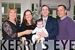 Little Kathleen Colby, Boston, USA celebrated his christening with his parents Georgina Barry-Colby (Gneeveguilla) and Terrence, and his godparents Sinead Moynihan and Patrick Barry in the Killarney heights Hotel on Sunday