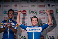 Yves Lampaert (BEL/Quick-Step Floors) is the new Belgain National Champion<br /> runner-up Philippe Gilbert (BEL/Quick Step floors) is happy behind his teammate on the podium<br /> <br /> Belgian National Championships 2018 (road) in Binche (224km)<br /> ©kramon