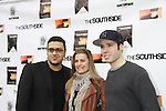 "Gregori J. Martin (producer, director and wrote film) poses with stars of the film - OLTL and GL Fiona Hutchison and Kristos Andrews at The private Industry Screening of ""The Southside"", A Lany Film Tribute to Robert Areizaga, Jr. on February 27, 2012 at Tribeca Cinemas, New York City, New York.  (Photo by Sue Coflin/Max Photos)"