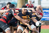 Tulele Masoe passes from the back of a scrum. Counties Manukau Premier Club Rugby game between Papakura and Bombay, played at Massey Park Papakura on Saturday June 16th 2018. Bombay won the game 36 - 17 after leading 17 - 7 at halftime.<br /> Papakura Ray White 17 - Kris Smithson 2, Taafaga Tagaloa tries, Monty Punatai conversion.<br /> Bombay 36 - Jordan Goldsmith, Haamiora Clarke 2, Patrick Masoe, Mitchell Thackham, Chay Mackwood tries, Jordan Goldsmith 2, Ki<br /> Anufe conversions.<br /> Photo by Richard Spranger.