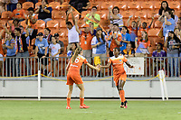 Houston, TX - Saturday June 17, 2017: Janine Beckie congratulates Nichelle Prince on her first goal in the NWSL during a regular season National Women's Soccer League (NWSL) match between the Houston Dash and the Orlando Pride at BBVA Compass Stadium.