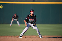 Javier Guerra (12) of the Lake Elsinore Storm in the field at shortstop during a game against the Inland Empire 66ers at San Manuel Stadium on July 31, 2016 in San Bernardino, California. Inland Empire defeated Lake Elsinore, 8-7. (Larry Goren/Four Seam Images)