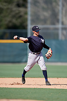 GCL Yankees West second baseman Matt Pita (16) throws to first base during a game against the GCL Pirates on August 2, 2018 at Pirate City Complex in Bradenton, Florida.  GCL Pirates defeated GCL Yankees West 6-2.  (Mike Janes/Four Seam Images)