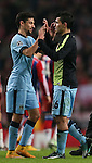 Jesus Navas celebrates with hatrick goalscorer Sergio Aguero of Manchester City - UEFA Champions League group E - Manchester City vs Bayern Munich - Etihad Stadium - Manchester - England - 25rd November 2014  - Picture Simon Bellis/Sportimage