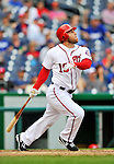 8 September 2011: Washington Nationals outfielder Laynce Nix in action against the Los Angeles Dodgers at Nationals Park in Washington, DC. The Dodgers defeated the Nationals 7-4 to take the third game of their 4-game series. Mandatory Credit: Ed Wolfstein Photo
