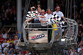 May 28th Indianapolis Speedway, Indiana, USA;  The Checker Flags wave for Indycar driver Takuma Sato (26) of Andretti Autosport as he wins the 101st running of the Indianapolis 500 on May 28, 2017, at the Indianapolis Motor Speedway in Indianapolis, Indiana.