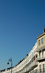 Royal York Crescent below large area of blue sky, Clifton, Bristol