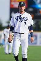 Dansby Swanson (7) of the Hillsboro Hops prior to a game against the Tri-City Dust Devils at Ron Tonkin Field in Hillsboro, Oregon on August 24, 2015.  Tri-City defeated Hillsboro 5-1. (Ronnie Allen/Four Seam Images)
