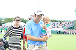 Ross fisher celebrates with his wife and child after winning the  3 Irish Open, at the Killarney Golf and Fishing Club, Killarney, Ireland.Picture Fran Caffrey/www.golffile.ie.