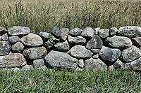 Fieldstone wall detail, Cape Cod, Massachusetts, USA.