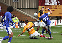 Adam Cummins gets a vtal tackle in on Apostolos Vellios in the Motherwell v Everton friendly match at Fir Park, Motherwell on 21.7.12 for Steven Hammell's Testimonial.