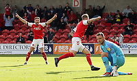 Fleetwood Town's Peter Clarke wheels away in celebration after scoring his side's second goal past Oxford United's Simon Eastwood<br /> <br /> Photographer Rich Linley/CameraSport<br /> <br /> The EFL Sky Bet League One - Fleetwood Town v Oxford United - Saturday 7th September 2019 - Highbury Stadium - Fleetwood<br /> <br /> World Copyright © 2019 CameraSport. All rights reserved. 43 Linden Ave. Countesthorpe. Leicester. England. LE8 5PG - Tel: +44 (0) 116 277 4147 - admin@camerasport.com - www.camerasport.com