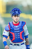 South Bend Cubs catcher Tyler Alamo (22) before the game against the Great Lakes Loons on May 18, 2016 at Dow Diamond in Midland, Michigan. Great Lakes defeated South Bend 5-4. (Andrew Woolley/Four Seam Images)