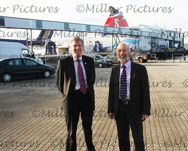Scottish Justice Secretary Kenny MacAskill MSP (left) and Northern Ireland Justice Minister David Ford MLA meet police to discuss security at sea crossings. Stena Line, Loch Ryan Port, Belfast Way, Cairnryan with the new Stena Superfast VII in the background.