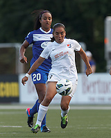 Sky Blue FC forward Monica Ocampo (8) on the attack.  In a National Women's Soccer League (NWSL) match, Boston Breakers (blue) defeated Sky Blue FC (white), 3-2, at Dilboy Stadium on June 30, 2013.