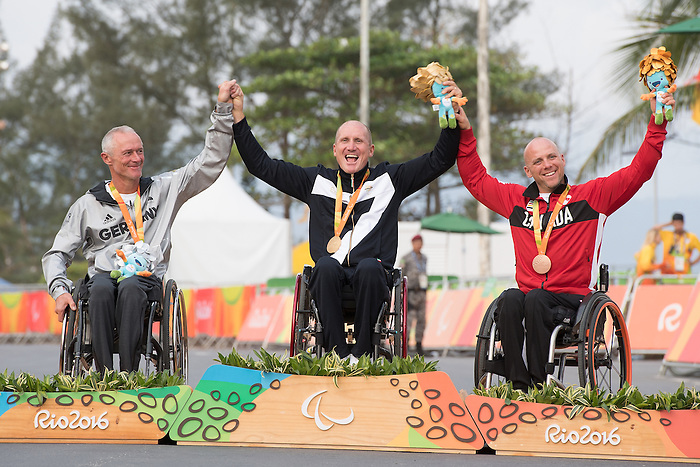 RIO DE JANEIRO - 15/9/2016:  Charles Moreau receives his bronze medal for Road Cycling - Men's Road Race H3 and Pontal during the Rio 2016 Paralympic Games in Rio de Janeiro, Brazil. (Photo by Matthew Murnaghan/Canadian Paralympic Committee)