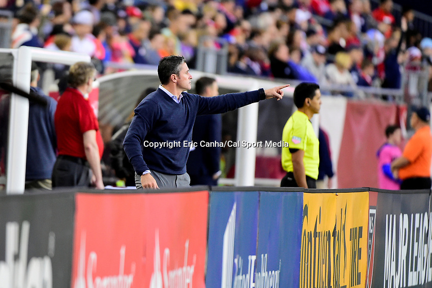 June 3, 2017: New England Revolution head coach Jay Heaps reacts to game play during the MLS game between Toronto FC and the New England Revolution held at Gillette Stadium in Foxborough Massachusetts. At halftime the Revolution lead Toronto FC 1-0. Eric Canha/CSM