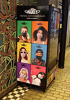 A Maskey face mask vending machine in London's Carnaby Street offering a variety of designs for both adults and children with profits going to the charity Lenderhand, which is currently supporting the NHS. London on July 4th 2020<br /> <br /> Photo by Keith Mayhew
