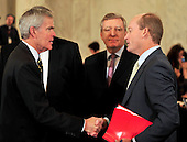 United States Senator Jeff Bingaman (Democrat of New Mexico), Chairman, U.S. Senate Committee on Energy and Natural Resources, left, shakes hands with Lamar McKay, Chairman and President .BP America, right prior to the committee's hearing to review current issues related to offshore oil and gas development including the Department of the Interior's recent five year planning announcements and the accident in the Gulf of Mexico involving the offshore oil rig Deepwater Horizon in Washington, D.C. on Tuesday, May 11, 2010..Credit: Ron Sachs / CNP