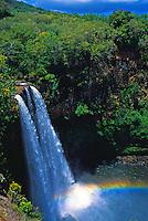 Wailua falls with rainbow, islands of Kauai